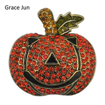 Grace Jun 2017 New Design Vintage Rhinestone Black Enamel Pumpkin Brooches Unisex Halloween Brooch Pin Festival Decorations Gift