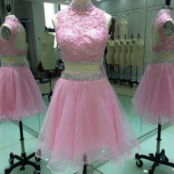 Lovely Short A Line Homecoming Dresses 2017 New Appliques Beads Crystal Girls Prom Cocktail Party Go