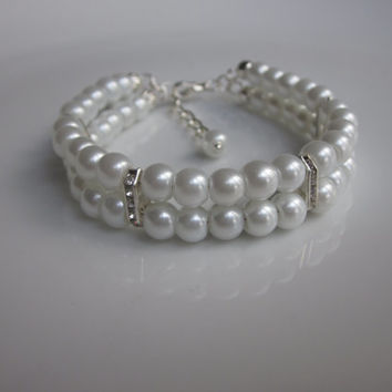 Pearl bracelet, bridesmaid gift, UK jewellery, bridesmaids gifts, double strand bracelet