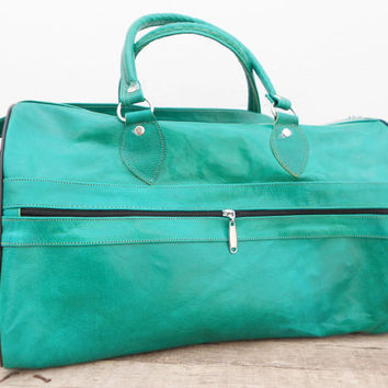 SALE - Light Green Women Leather Duffle Bag , Kit Gym Luggage Sports Ditty Utility Travel Weekend Leather Bag, Gift for her