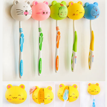 3D Cartoon Toothbrush Holder Stand Mount Wall Suction Grip Rack Home Bathroom Christmas Gift