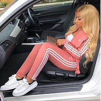 Adidas Fashion Letter Long Sleeve Shirt Sweater Pants Sweatpants Set Two-Piece Sportswear pink