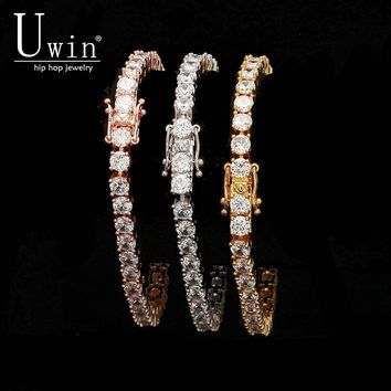 UWIN 1 Row Rose Gold Zircon Tennis Chain Bracelet Gold Silver Color Copper Iced Out CZ Chain Hip hop Jewelry Gift Drop Shipping