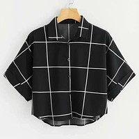 Cuffed Sleeve Dip Hem Grid Shirt Oversized Batwing Sleeve Blouse