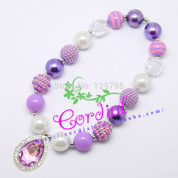 Best Sale Fashion Beaded Kids Jewelry Chunky Bubblegum Beads Water Drop Pendant Necklaces Design For Gift CDNL-410079