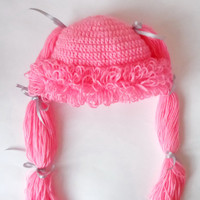 Pink Cabbage Patch Kid Hat Crochet Wig Or Choose your color and size Bunch Pigtail Style Halloween / Cosplay / Baby Shower Gift