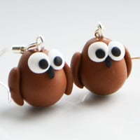 Owl Earrings, Fimo, Polymer Clay