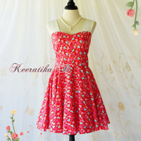 A Party Princess Retro Dresses Red Tea Dress Heatbeat Print All Over Prom Party Dress Bridesmaid Dress Spring Summer Sundress Custom Made