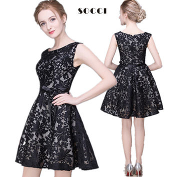 Custom made New girls Black Lace short cocktail dresses for juniors 2016 Short Prom Dress Formal Wedding Party Gowns Plus size