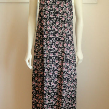 1990's 90's. Black Pink Floral Maxi Dress. Low Back. Free People Style. Boho. Small. S.