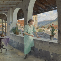 Sad Woman Looks Over Balcony In European Setting Poster