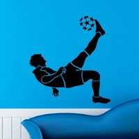 Soccer Player Wall Decal Vinyl Sticker Football Game Sport Wall Decor Home Interior Design Art Mural Boy Room Kids Nursery Bedroom Dorm Z748