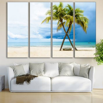 Beach Print Travel Wall Art Gift For Her / Beach Fine Art 4 Panel Cottage Decor Nature Canvas / Coastal Home Wall Decor Unique Sea Art Gift