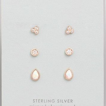 Rosegold Stud Earring Set
