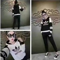 """""""Adidas"""" Fashion Casual Multicolor Clover Letter Print Long Sleeve Hooded Cotton Sweat"""