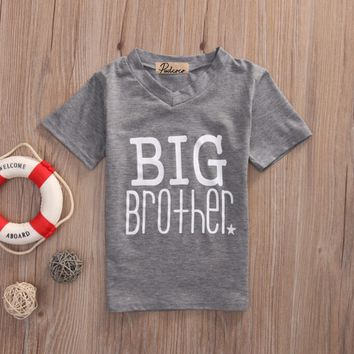 Baby Boys Letter Printed T-shirt Romper Bodysuit Jumpsuit Matching Clothes Big little Brother