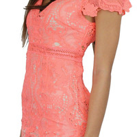 Love Poem Coral Lace Midi Dress