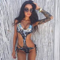 Sexy Hollow Out Deep V Lace Up Silver Women Jumpsuits One Piece Bodysuit Monokini Green Beach wear Slim Rompers