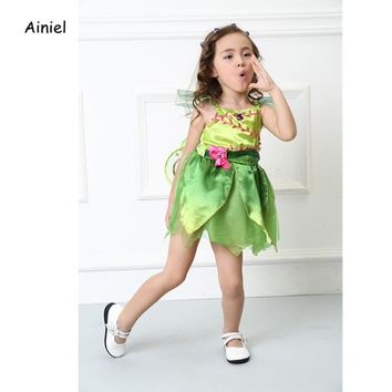Ainiel Kids Baby Girls Green Elf Tinkerbell Princess Cosplay Costume Flower Fairy Summer Girl Dress Halloween Party Fancy Dress