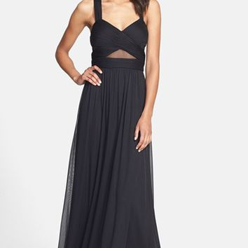 Women's Betsy & Adam X-Back Mesh Inset Gown