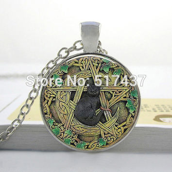 HZ--A163 Free Shipping Glass Dome Necklace Black Cat Pendant Black Cat Wicca Pentagram Glass Jewelry Glass Art Picture Necklace