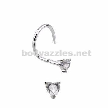 Clear Heart Prong CZ Nose Screw Ring 14 Karat Solid White Gold 20ga