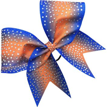 Royal blue and orange glitter bow with rhinestones