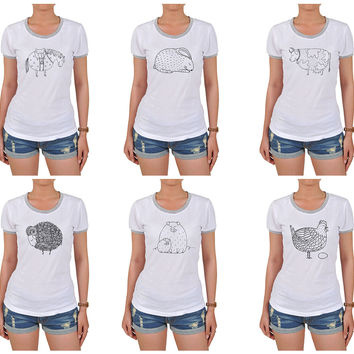 Women Animals hand drawing Graphic Printed Short Sleeves T-shirt WTS_06