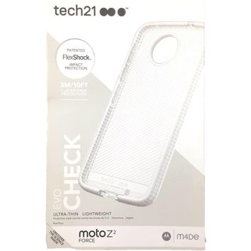 Tech21 Evo Check Case Slim Cover Protect for Moto Z2 Force Clear White