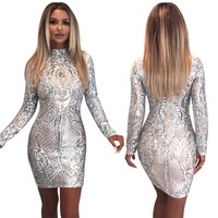 Sequins Silver Party Dress with Sleeves
