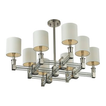 Berwick 8 Light Steel Sparkling White Diffuser & Crystal Pendant Nickel Finish Shades