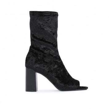 YASMIN PEEPTOE SOCK FIT ANKLE BOOTS IN BLACK VELVET