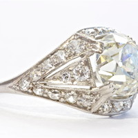 Art Deco Three Carat Diamond Platinum Engagement Ring