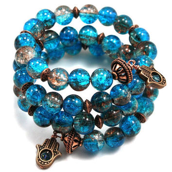 Copper and Teal Cracked Glass Hamsa, Chamsa, Memory Wire Wrap Bracelet