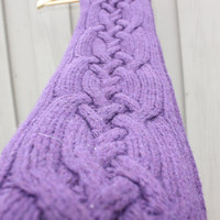 Ready to be shipped -Handmade Aran Scarf Knitted in Deep Purple Blend of Wool