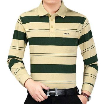 2018 Mens Spring Autumn Polo shirt Green Yellow Striped Polo Shirt Man Long Sleeve Tops Turn Down Collar Polos Male Cotton Top