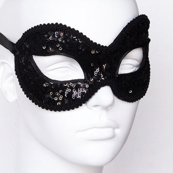 Sequined Shimmering Black Masquerade Mask - Venetian Style Glitter New Year's Masquerade Ball Mask Covered With Rhinestones And Beads