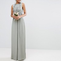 Maya Tall Embellished Top Maxi Dress With Pleated Skirt at asos.com