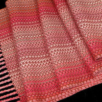 Hand Woven Scarf, Raspberry and Apricot, Vegan Clothing