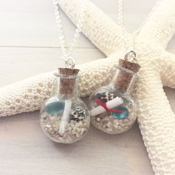 Beach Bottle Necklace - Beach Necklace - Valentines Necklace - Ocean Necklace - Message in a Bottle Necklace - Love Note Necklace