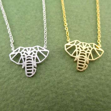 Majestic Elephant Face Outline Shaped Pendant Necklace in Gold or Silver