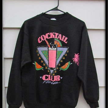 RAD 1980s Black neon cocktail club Florida pullover sweatshirt