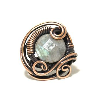 Handmade Labradorite Copper Wire Wrapped Ring