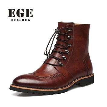 New Arrival Fashion Bullock shoes,Handmade super warm Genuine leather winter boots Men