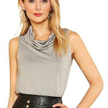 Romwe Womens Casual Top Loose Fit Cowl Neck Sleeveless Tee Shirt