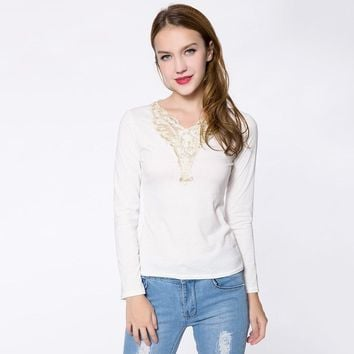 Fashionable V-Neck Lacework Splicing Long Sleeve Women's T-Shirt