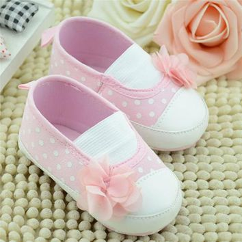 Newborn Baby Princess Shoes Infant Toddler Girl First Walkers Pink Flower Inner Polka