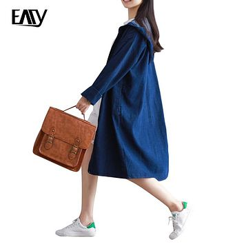 New Fashion Women 2017 Autumn Large Size Outwear Female Show Slim  Vintage Long Demin Jacket Loose All Match Coat with Hoodies