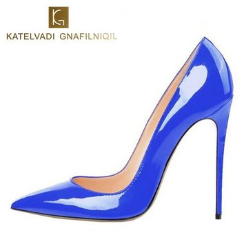 Brand Womens Shoes High Heels Women Pumps 12CM Heels Blue Shoes Woman Pumps Sexy Pointed Toe High Heels Wedding Shoes B-0056