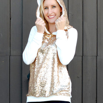 GOLD SEQUIN FRENCH TERRY HOODIE